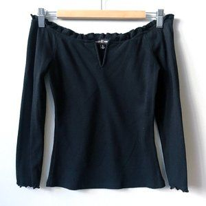 Almost Famous Black V Off Shoulder Knit Ribbed Top
